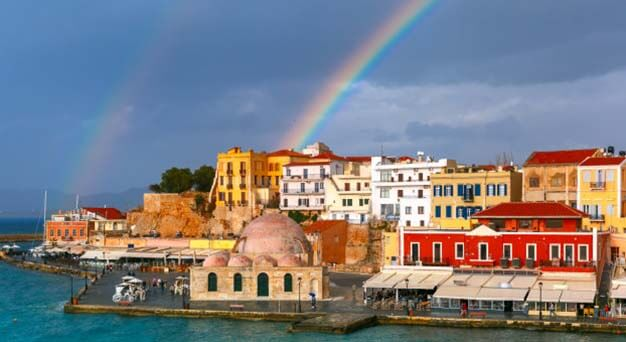 Chania old town in Crete Keramoti rent a car in Kissamos