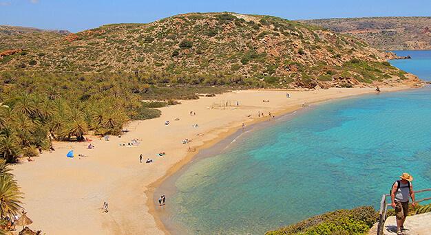 Vai Palm beach in east Crete Keramoti rent a car in Kissamos